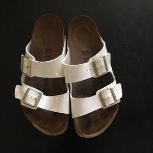 White Birkenstock Sandals size 41 .